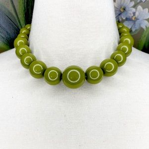 Vintage Inspired Olive Green Bead Collar Necklace